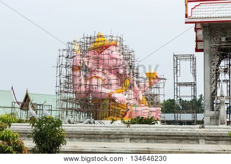 Repair Ganesha statue in Nakorn Nayok province of Thailand.