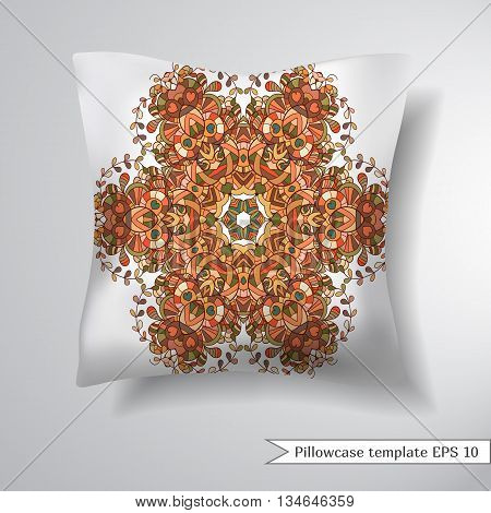 Creative sofa square pillow. Decorative pillowcase design template. Pattern with abstract circular pattern. Vector illustration.