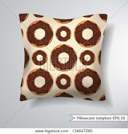 Creative sofa square pillow. Decorative pillowcase design template. Pattern with donuts. Vector illustration.