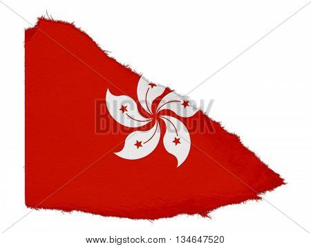 Flag Of Hong Kong Torn Paper Scrap Isolated On White Background