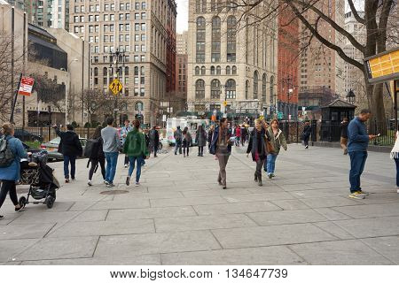 NEW YORK - CIRCA MARCH, 2016: people walking on the New York City street. The City of New York is the most populous city in the United States