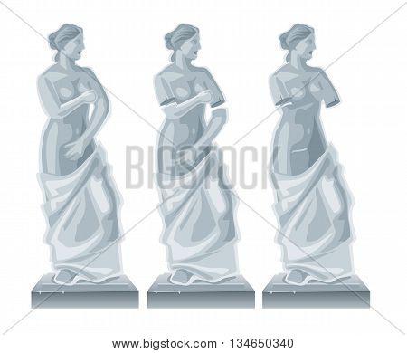 Sculpture Venus - goddess of love.Vector flat isolated illustration on white background.