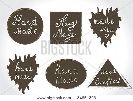 Set of vintage hand made logotypes and labels. Home Made and Hand Made Product Stamps. Hand lettering calligraphic inscription. Vector illustration.