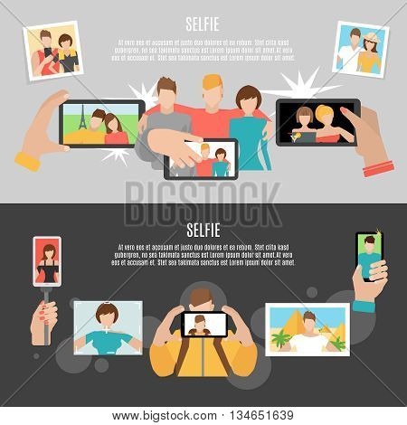 Selfie  pics taking with friends and family 2 horizontal flat banners set poster abstract isolated vector illustration
