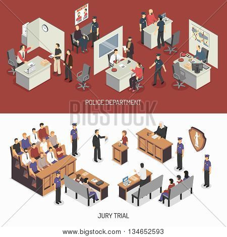 Law system isometric horizontal banners with police office interrogation jury trial lawyer defendant witness isolated vector illustration poster