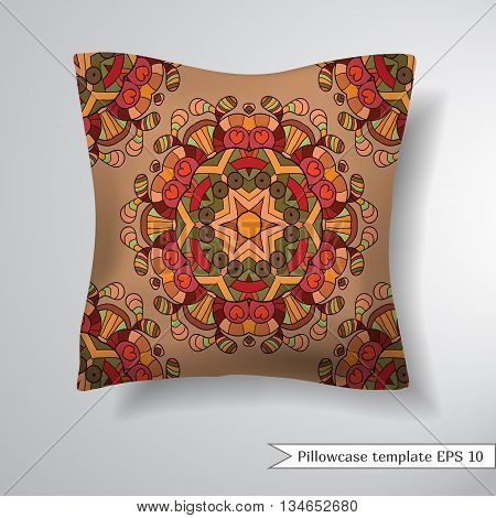 Creative sofa square pillow. Decorative pillowcase design template. Pattern with abstract circular floral ornaments mandala. Vector illustration.