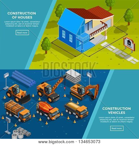 Two construction isometric banners with layout of country house vehicles for road works trucks and tippers flat vector illustration