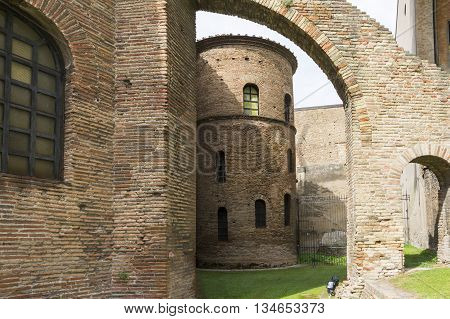 RAVENNA,ITALY-AUGUST 21,2015:view of the particular of the San Vitale basilica in Ravenna-Italyduring a cloudy day .