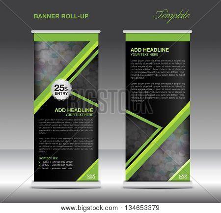 Green Roll up banner stand template advertisement design