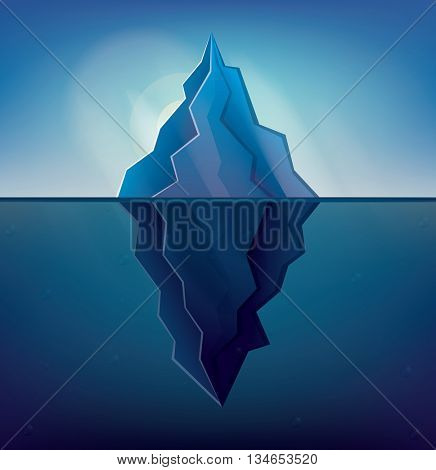 Iceberg on Blue Background. Vector Illustration. Low Poly Iceberg. Iceberg with Underwater Part.