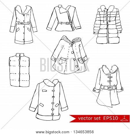 Fashion set. Various jackets and overcoats. Illustration in hand drawing style.