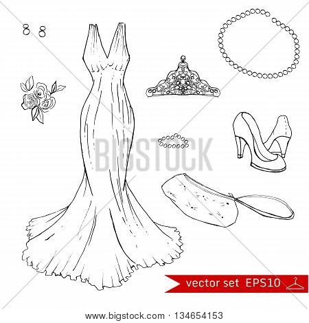 Fashionset for prom. Illustration in hand drawing style.