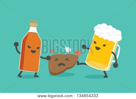 Liquor bottles and beer are damaging the liver. This illustration describe to drinking alcohol inflict severe damage to the liver.
