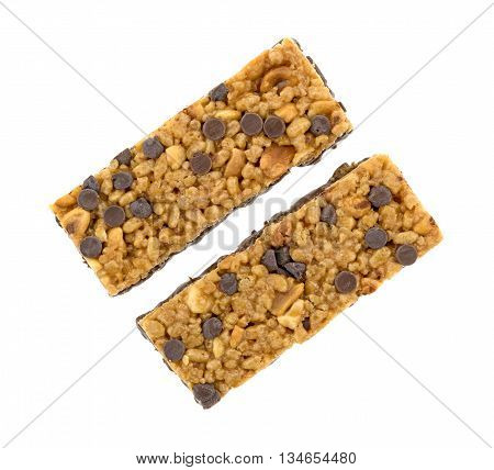 Top view of two chocolate chip with peanuts protein bars isolated on a white background.