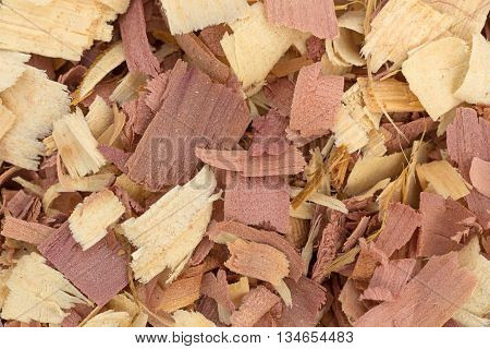 Very close view of red cedar shavings used for pet bedding.