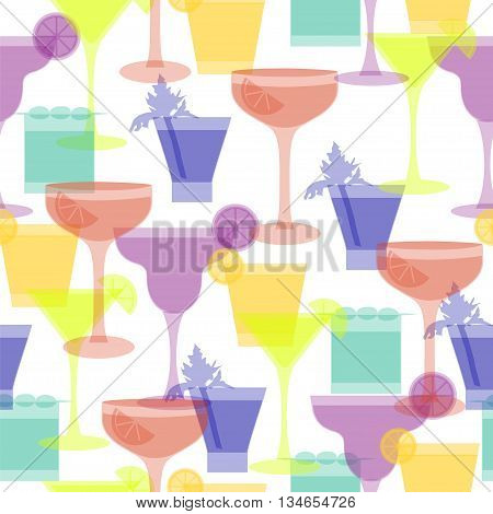 Cocktail silhouettes seamless pattern. Vector illustration with different glasses and drinks for beverage menu, party ad, club lounge,textile, fabric