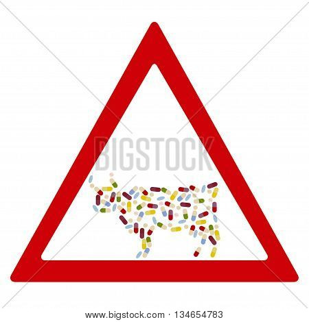 Cow by drug pills in traffic forbidden sign concept. Vector illustration for antibiotic resistance modern pharmacology in cattle breeding excessive medication of domestic animals