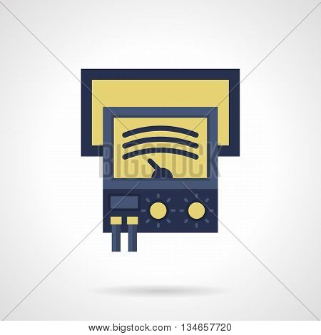 Blue ammeter with yellow display with mechanical arrow. Measuring devices for testing electrical equipment, components and parts. Metrology objects. Flat color style vector icon.