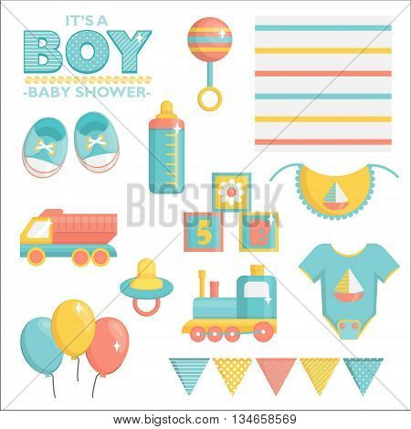 It is a boy baby shower items collection for party, event decoration. Design elements for cards and invitations. Blue colored baby clothes, toys for boys and other baby goods.