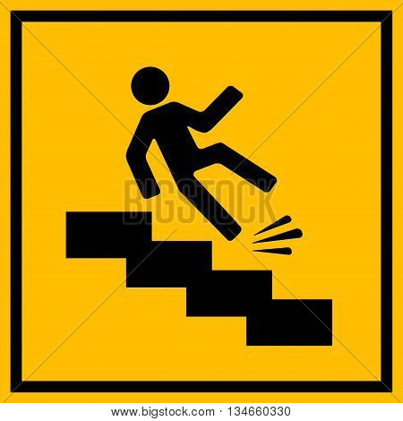 Slippery stairs warning sign isolated on white background