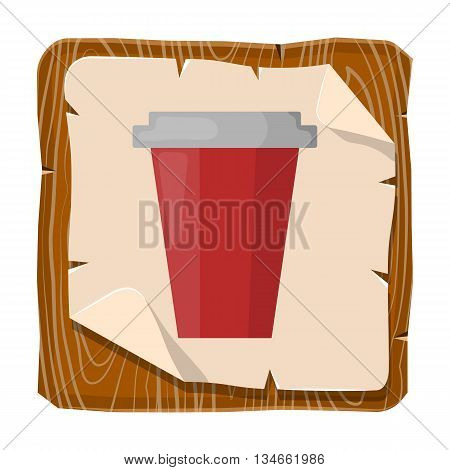 Paper cup colorful icon. Vector illustration of paper cup