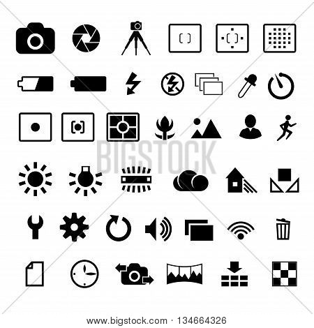Camera options symbols settings and parameters vector icon set