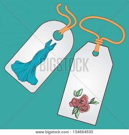 Label, badge, price tag with the image of fashionable things.Fashionset for prom. Illustration in hand drawing style.