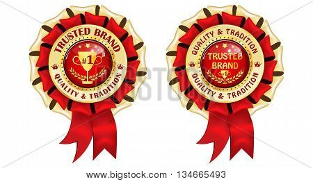 Trusted Brand award ribbons. Trusted Brand, Quality and tradition - golden red award ribbons