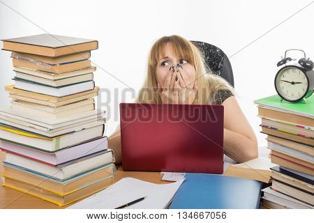 Student Shocked Smorit A Large Stack Of Textbooks