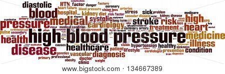 High blood pressure word cloud concept. Vector illustration