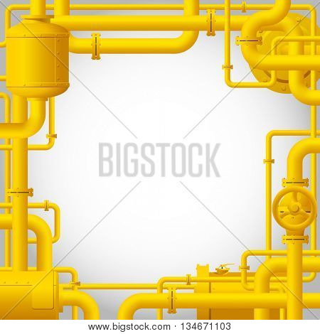 Yellow gas pipes. Industrial frame and background with pipes. Vector Illustration