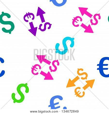 Euro Dollar Transactions vector seamless repeatable pattern. Style is flat euro dollar transactions and dollar symbols on a white background.