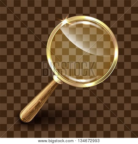 Magnifying glass on colorful background. Vector illustration.