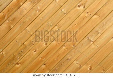 Close Up Of A Pine Wood Fence.