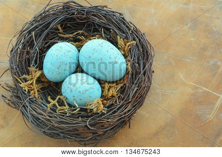 Blue speckled eggs in woven vine nest on rustic background in horizontal format with copy space