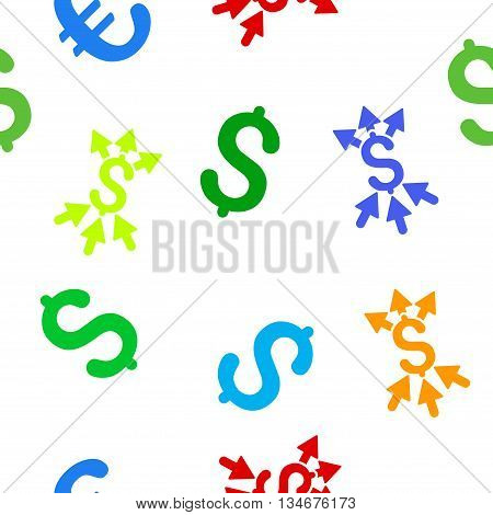 Payment Broker vector seamless repeatable pattern. Style is flat payment broker and dollar symbols on a white background.