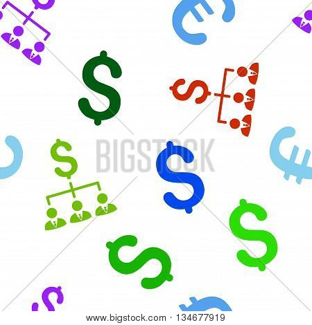 Banker Links vector seamless repeatable pattern. Style is flat banker links and dollar symbols on a white background.