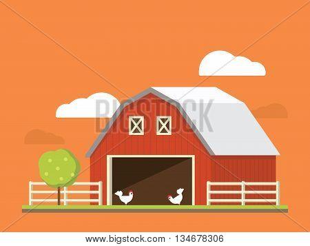 Agriculture and farming. Agribusiness. Rural landscape flat illustration