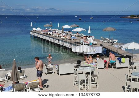 Antibes France - april 15 2016 : seaside in the picturesque Juan les Pins district in spring