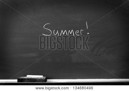 Chalkboard with chalk eraser marks in white chalk Summer Sign