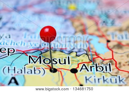 Mosul pinned on a map of Iraq