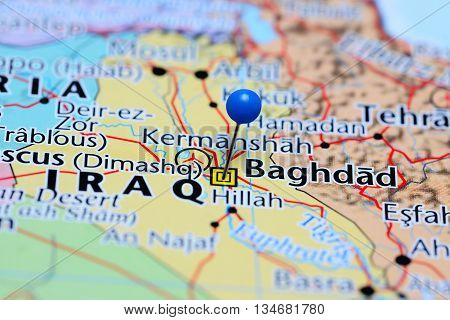 Baghdad pinned on a map of Iraq