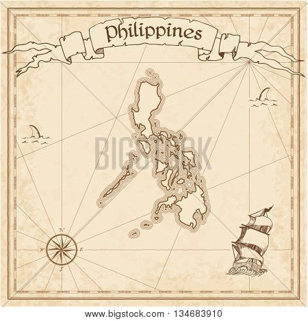 Philippines Old Treasure Map. Sepia Engraved Template Of Pirate Map. Stylized Pirate Map On Vintage