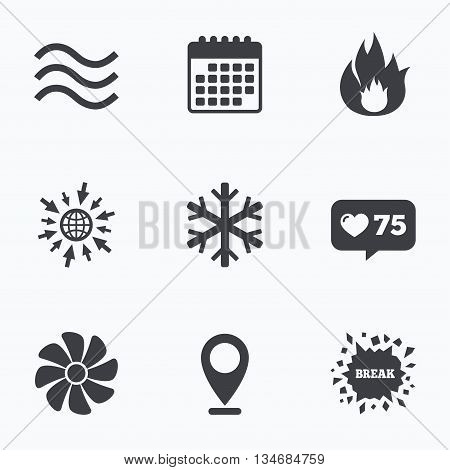 Calendar, like counter and go to web icons. HVAC icons. Heating, ventilating and air conditioning symbols. Water supply. Climate control technology signs. Location pointer. poster