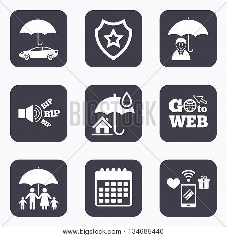 Mobile payments, wifi and calendar icons. Family, Real estate or Home insurance icons. Life insurance and umbrella symbols. Car protection sign. Go to web symbol.