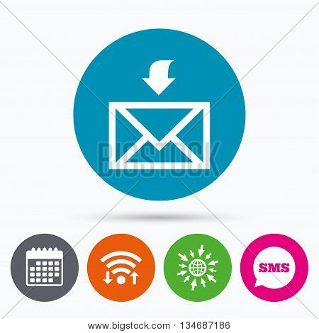 Wifi, Sms and calendar icons. Mail receive icon. Envelope symbol. Get message sign. Mail navigation button. Go to web globe.