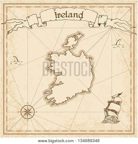 Ireland Old Treasure Map. Sepia Engraved Template Of Pirate Map. Stylized Pirate Map On Vintage Pape