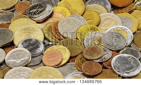Many different coins collection background