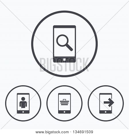 Phone icons. Smartphone video call sign. Search, online shopping symbols. Outcoming call. Icons in circles.