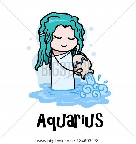 Aquarius Zodiac, a hand drawn vector cartoon illustration of Aquarius zodiac, The Water Bearer.